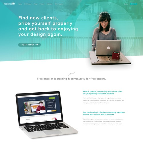 Designer for freelancer course site.