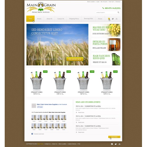 Website Design for Ecommerce Business - Brewing Equipment & Supplies Retailer