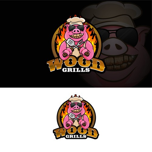 logo and mascot design for wood grills
