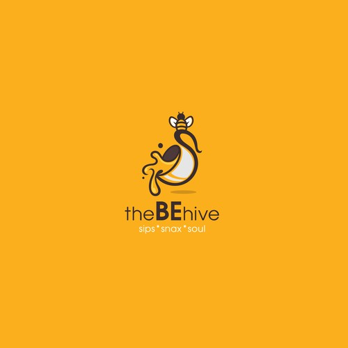 bee coffee cup logo design