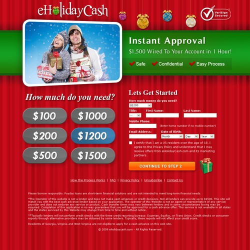 eHoliday Cash Website