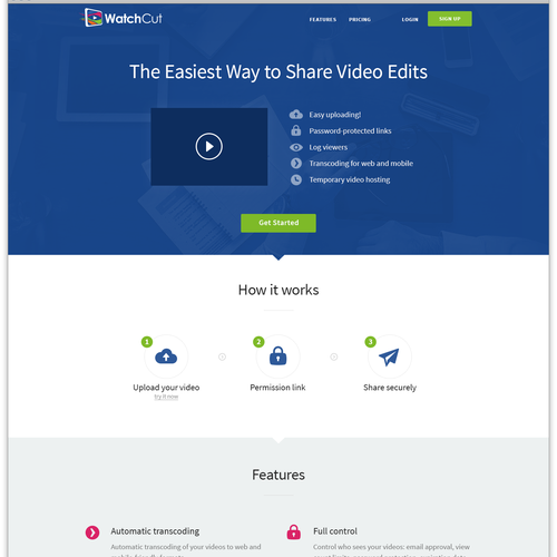 Landing page for niche video hosting site