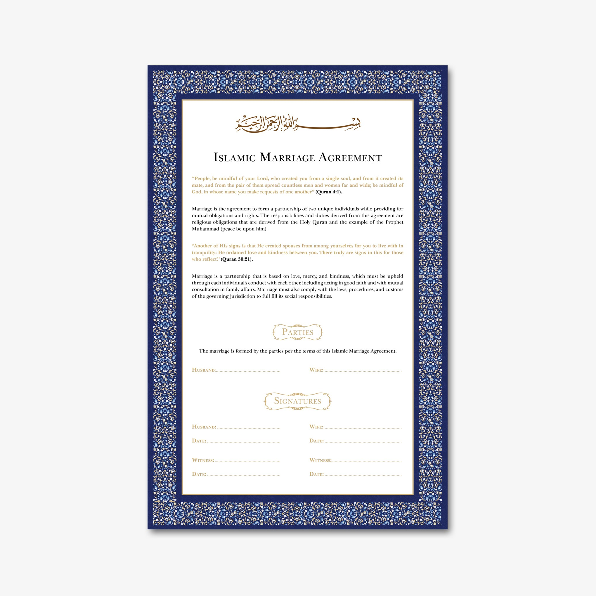 Design A Beautiful Islamic Marriage Agreement Document Template
