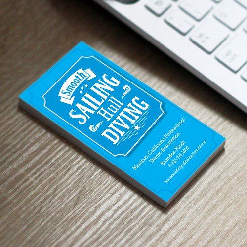 Create a business card for an underwater boat cleaning service