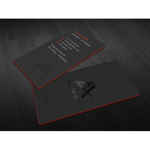 Modern Black Business Cards for ALL4ONE