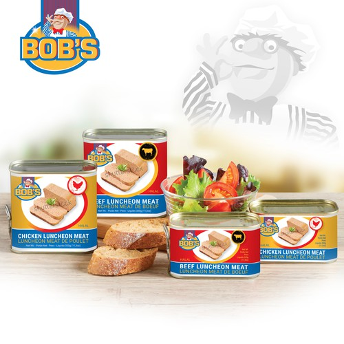 New colourful design for our Bob' s luncheon meat Chicken and Beef