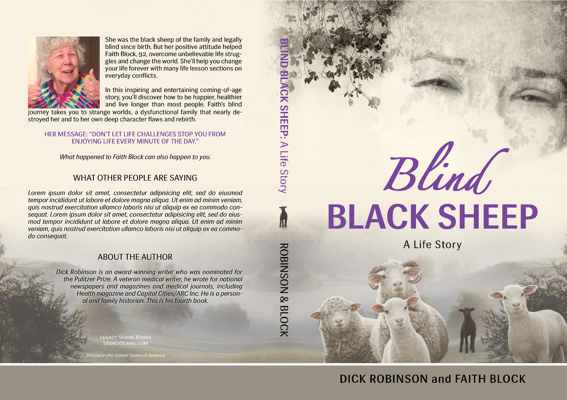 Create a captivating book cover for Blind Black Sheep: A Life Story