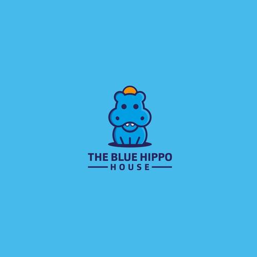 The Blue Hippo House logo design