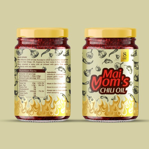 chili oil label design