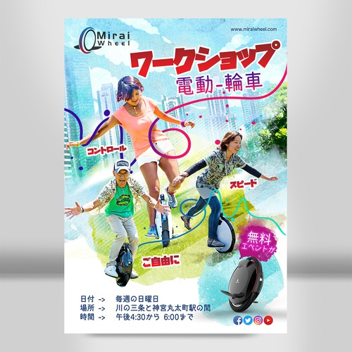 Poster Future One wheel electric Scooter,