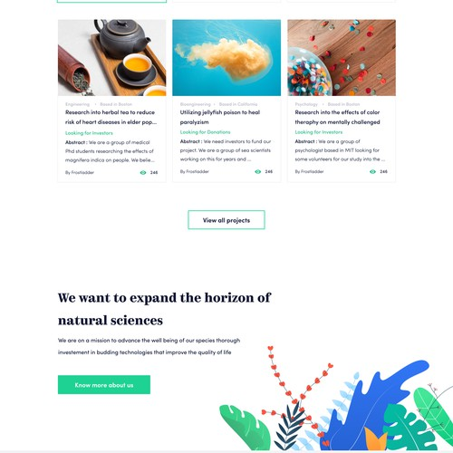 Landing page for wefundscience
