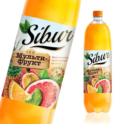 Label design for multi fruit soda drink