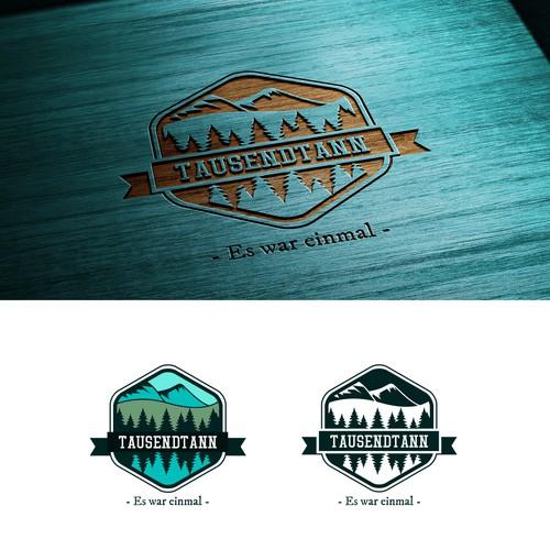wooden logo/label