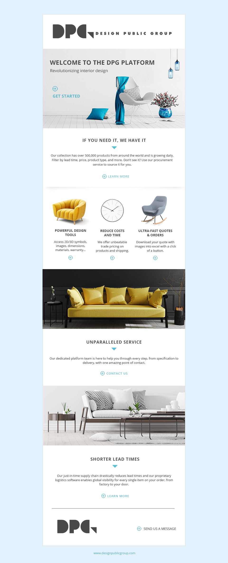 Email template for Interior Designers on features or new ideas from our platform
