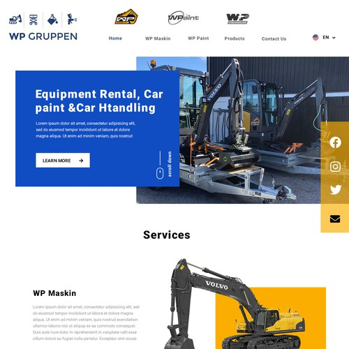 Home page for a group industrial company