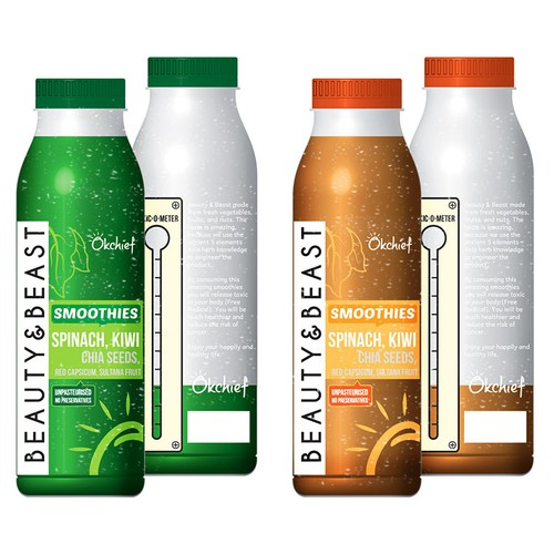 Create a winning label for a new startup's veggie smoothie, fun guaranteed!
