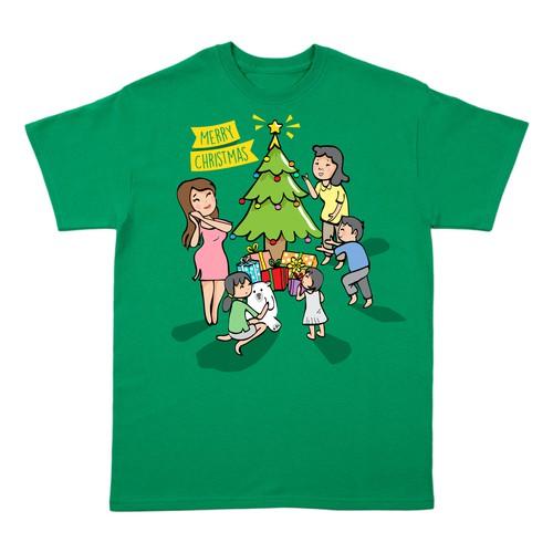 Merry Christmas cartoon t shirt