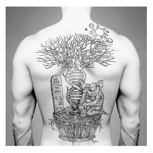 Black and White Line Tattoo Design
