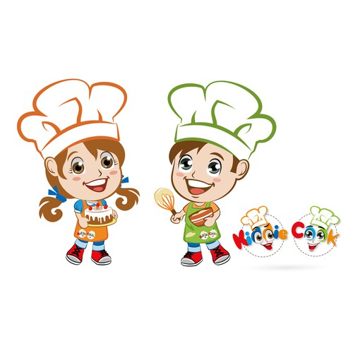Two cute boy and girl mascot for a cooking class