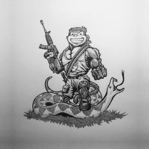 Rambo Monkey Mascot