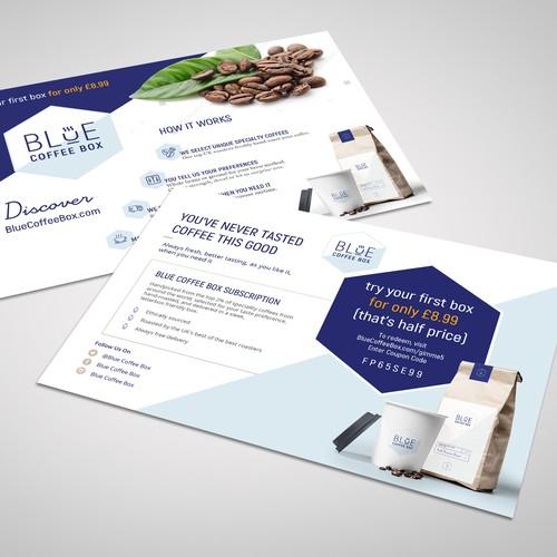 Postcard design for Blue Coffee Box