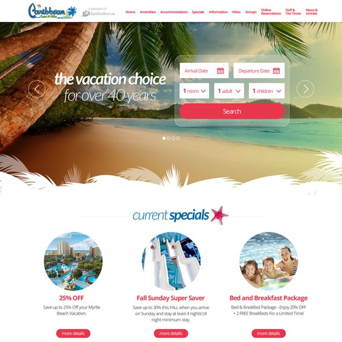 Caribbean Oceanfront Resort Web Design