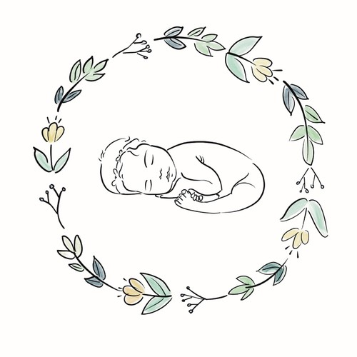 Minimalistic new born baby illustration