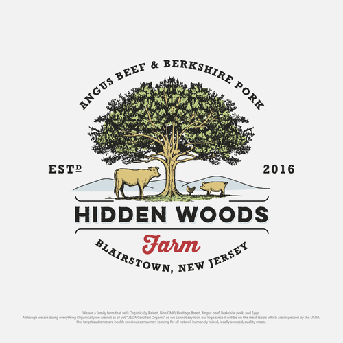 logo for hidden woods farm