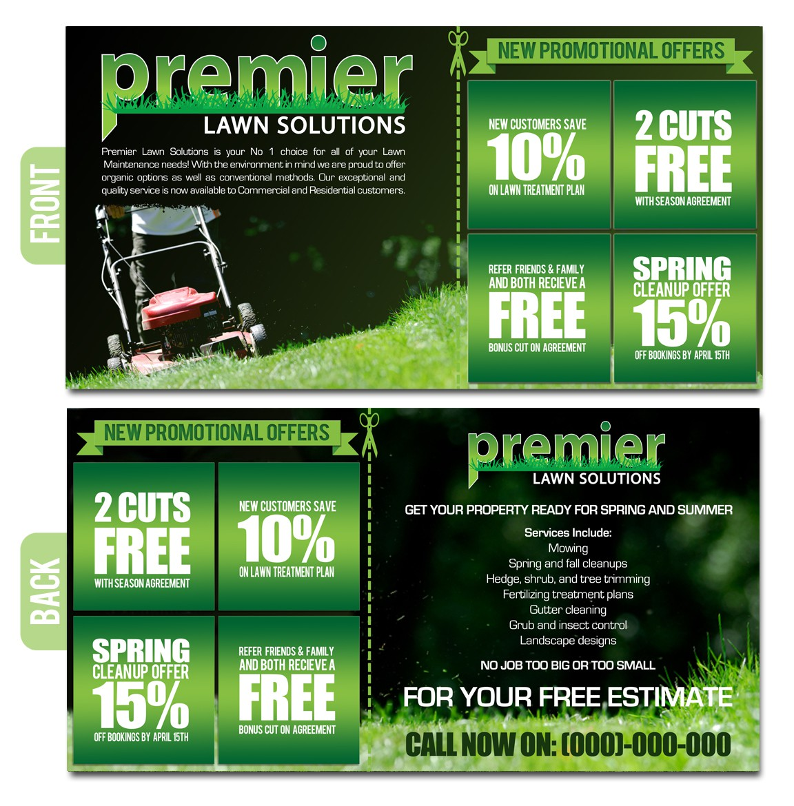 Help premier lawn solutions market with a new postcard !!!!!!