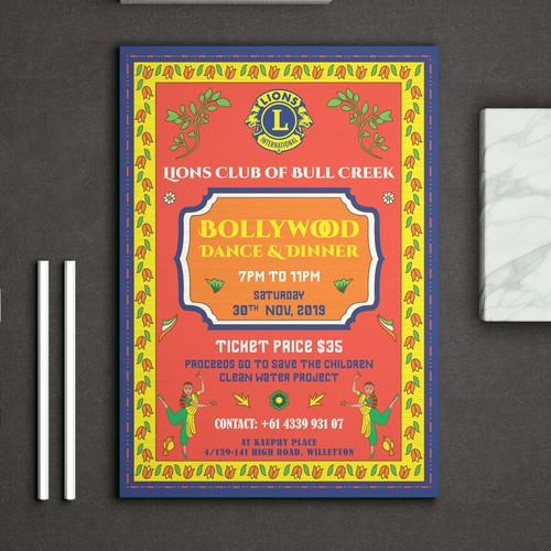 Bollywood Dance & Dinner Event Poster for Lions International