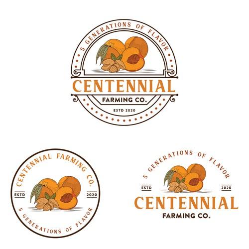 Logo for peach and almond farm