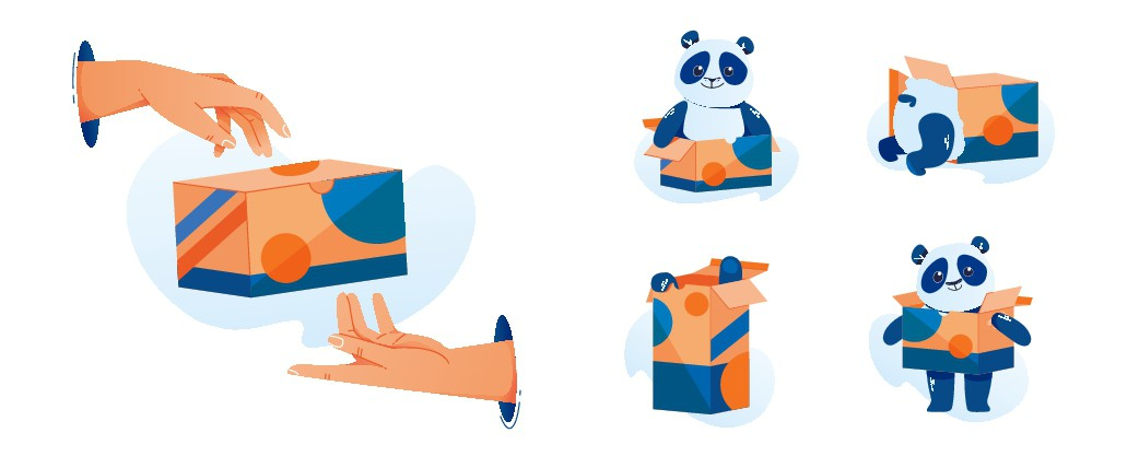 Portal and Panda Illustrations for Packaging Company - Ongoing Project