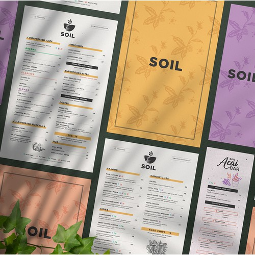 SOIL in-store menu
