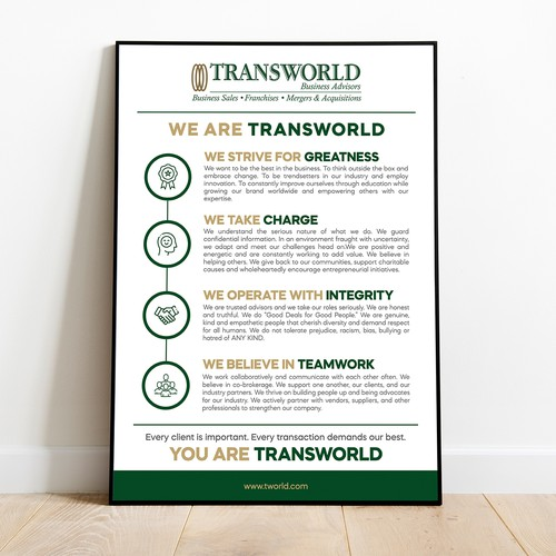 Professional and bold Core Values Poster for Transworld