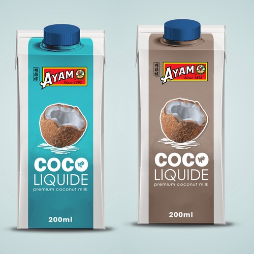 Product label for AYAM Coco milk makeover