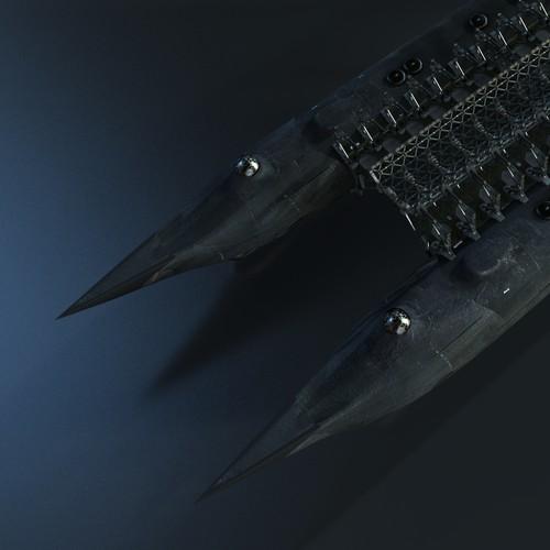 3D model of a futuristic battleship for a novel