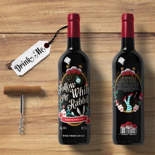"""Follow the White Rabbit"" Wine Label"