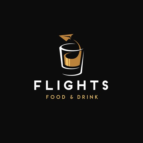 "Logo design concept for an airport restaurant ""Flights"""