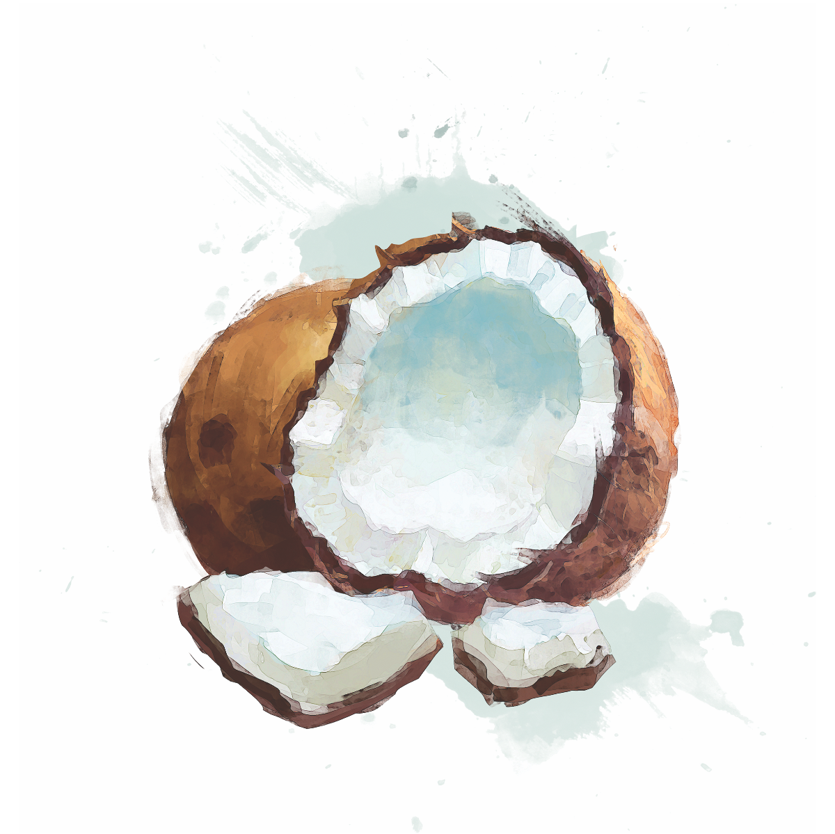 5 fruits water paint drawing