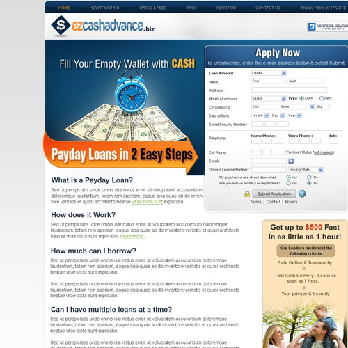 New website design wanted for ezcashadvance.biz