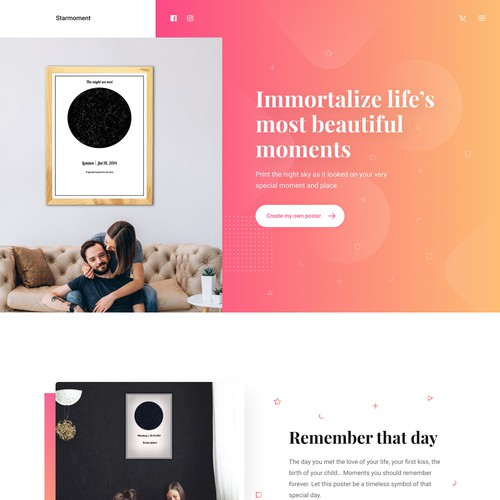 Clean, minimalist desktop landing page company that sells unique night posters