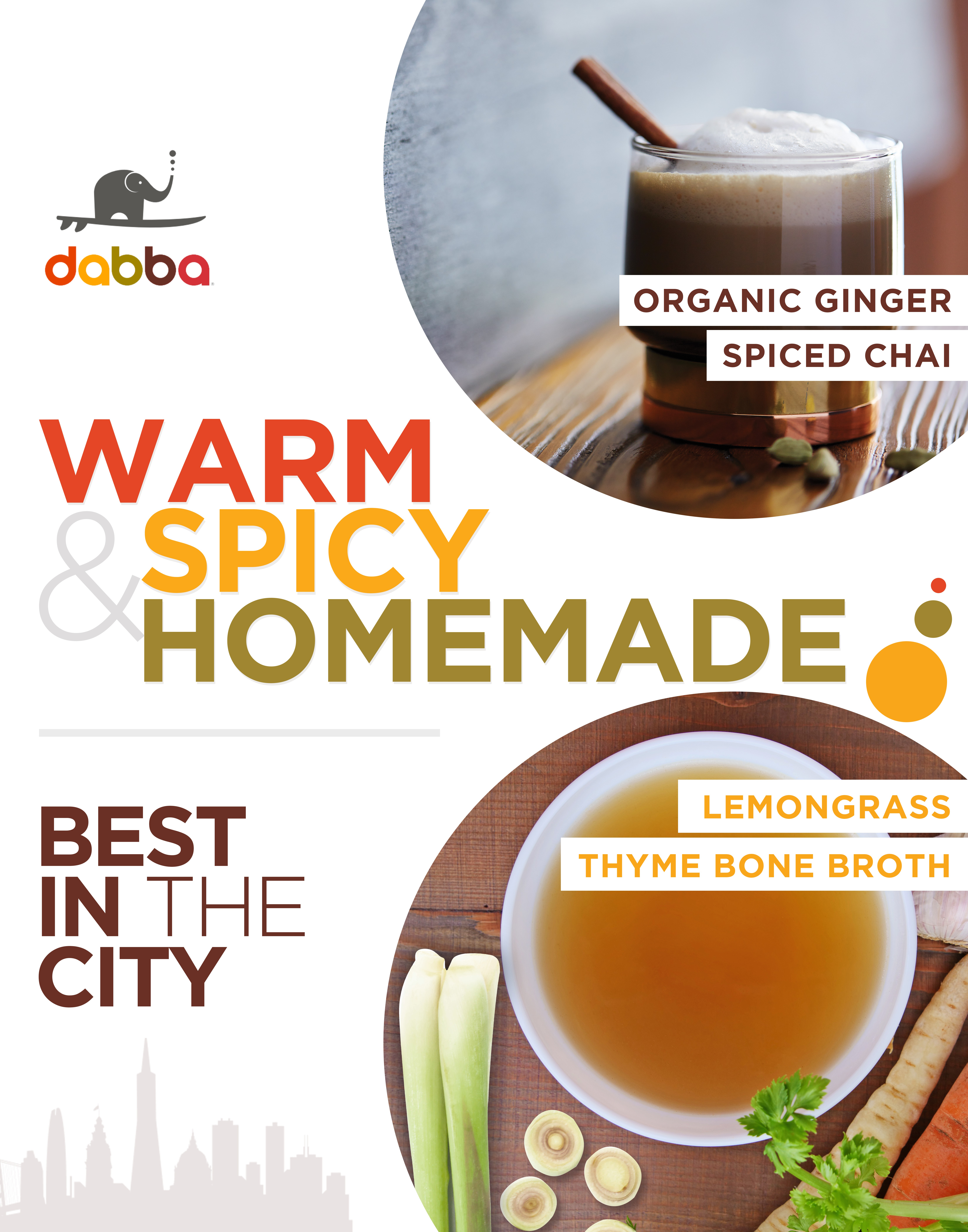 Organic Ginger Spiced Chai and Bone Broth (22x28) poster