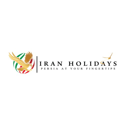 Create a unique, adventurous, and intriguing logo for a travel company focusing on Iran