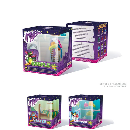 Set of 12 packagings for new Monster toys collection (with interiors).
