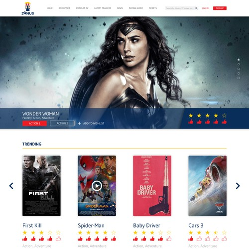 Homepage for a brand new movies rating website