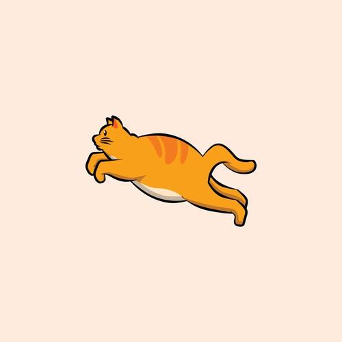Cat character for 地面を弾むような猫のイラストをデザインしてください