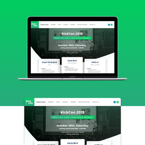 KickCon landing page
