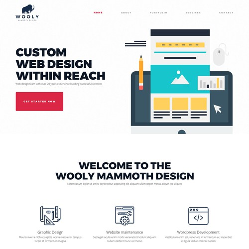 web design concept for Wooly Mammoth Design