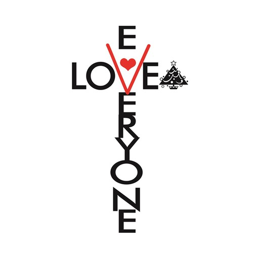 """A cross made from the words """"LOVE"""" and """"EVERYONE."""""""