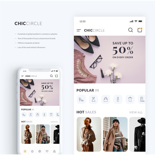 Clean and minimal UI design for fashion app